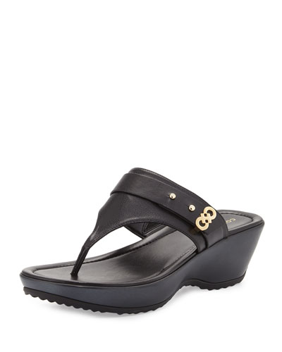 Margate Wedge Thong Sandal, Black
