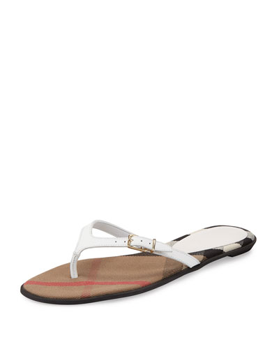 Meadow Leather Thong Sandal, Optic White