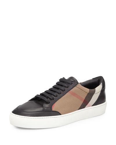 Salmond Check & Leather Sneaker, House Check/Black