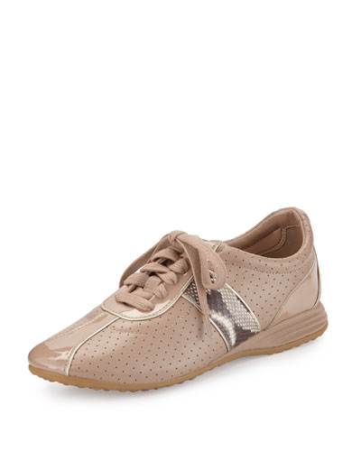 Bria Grand Perforated Leather Sneaker, Maple Sugar/Roccia