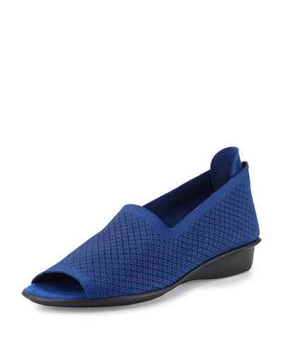 Eadan Open-Toe Demi-Wedge Sandal, Bluette