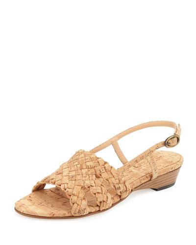 Gennie Woven Cork Slingback Sandal, Natural