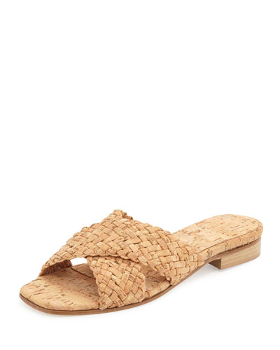 Gabriella Woven Cork Slide Sandal, Natural