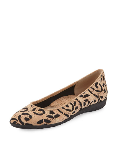 Bella Laser-Cut Cork Ballerina Flat, Natural/Black