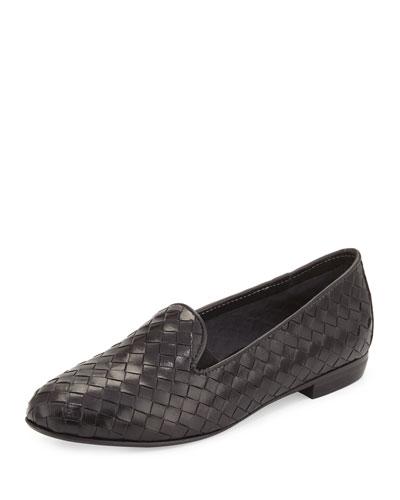 Nader Woven Leather Loafer, Black
