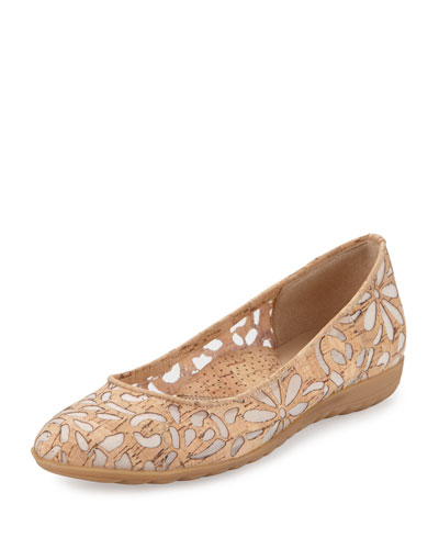 Bella Laser-Cut Cork Ballerina Flat, Natural