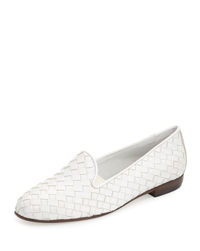 Nader Woven Leather Loafer, White
