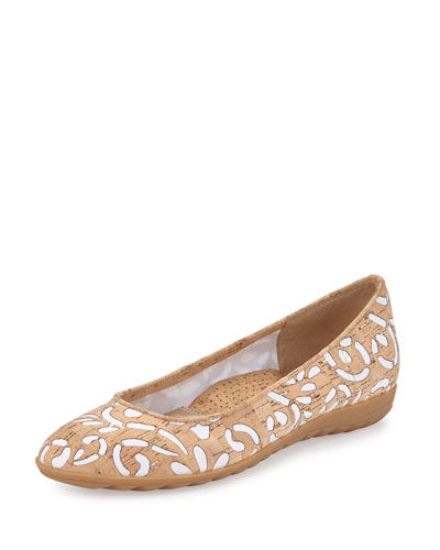 Bella Laser-Cut Cork Ballerina Flat, Natural/White