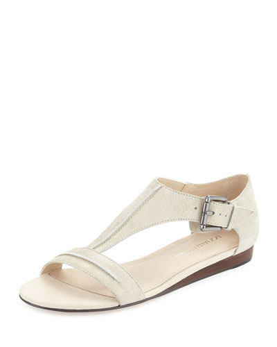 Bravo Suede T-Strap Demi-Wedge Sandal, Pewter