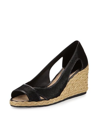 Coraa Espadrille Wedge Sandal, Black