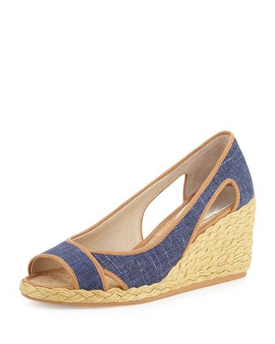 Coraa Linen Espadrille Wedge Sandal, Denim