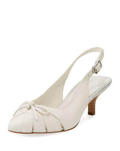 Gella Bow Kitten-Heel Slingback Pump, White
