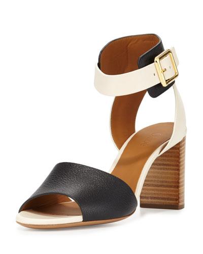 Bicolor Ankle-Cuff Sandal, Black/White