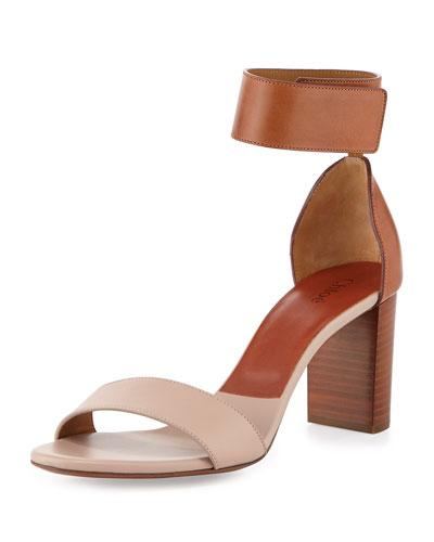 Bicolor Leather Gala Sandal, Cognac/Nude