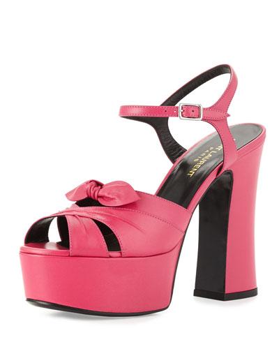 Candy Leather Platform Sandal, Lipstick