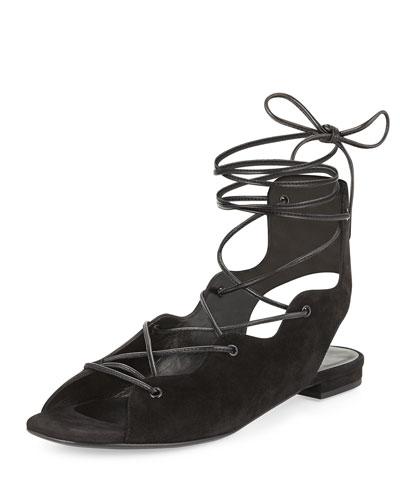 Suede Lace-Up Flat Sandal, Black