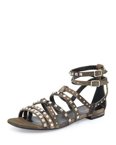 Studded Flat Gladiator Sandal, Camo