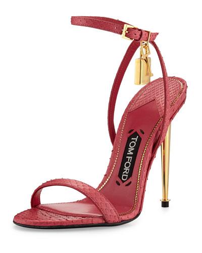 Lock Ankle-Wrap Python 110mm Sandal, Fuchsia