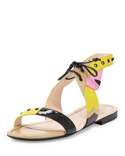 Bug Monster Lace-Up Sandal, Beige/Yellow/Black
