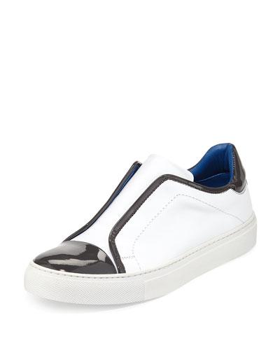 Leather Cap-Toe Slip-On Sneaker, Petalo/Mist