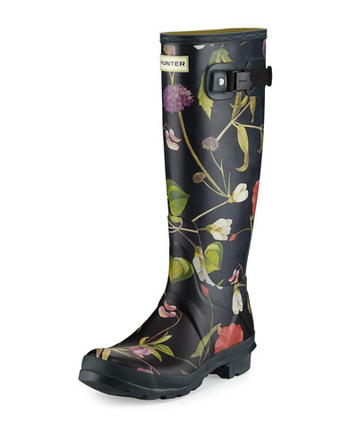 Original Tall Floral-Print Rain Boot, Black/Multi