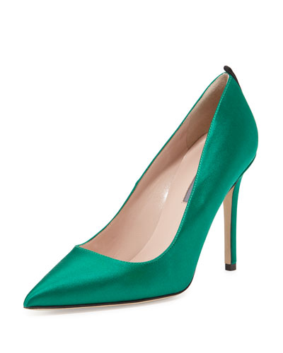 Fawn Satin Pointed-Toe Pump, Emerald