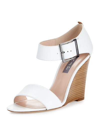 Tate Leather Wedge Sandal, White