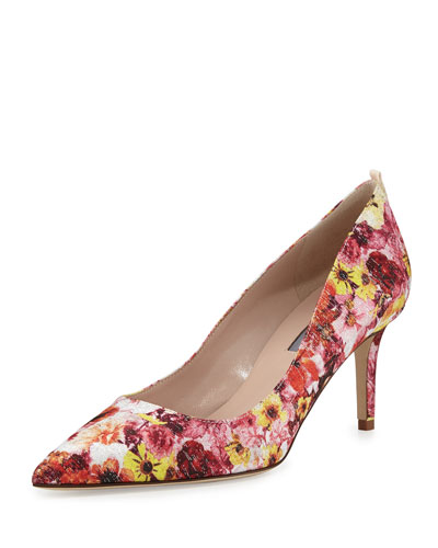 Fawn 70mm Floral-Print Satin Pump, Camille/Multi