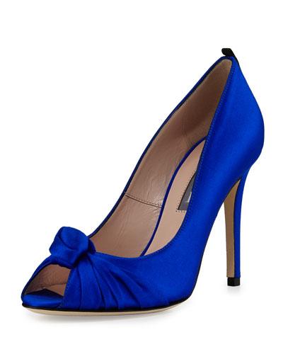 Gabrielle Knotted Satin Pump, Royal Blue