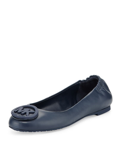 Lindsay Logo-Toe Leather Ballerina Flat, Navy