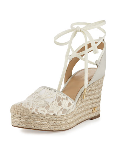 Margie Embroidered Ankle-Wrap Espadrille Wedge Sandal, Cream
