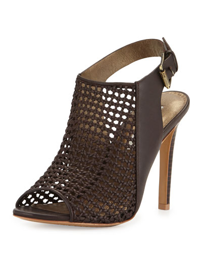 Francine Woven Leather Slingback Sandal, Dark Brown