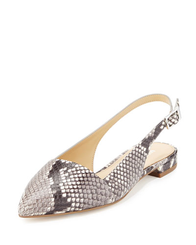 Claudia Python-Embossed Slingback Flat, Natural