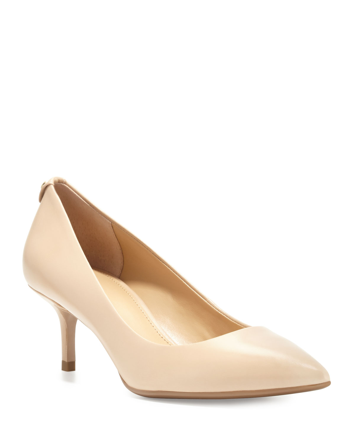 MK-Flex Leather Mid-Heel Pump, Nude