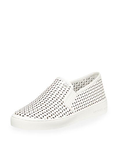 Olivia Laser-Cut Leather Skate Sneaker, Optic White