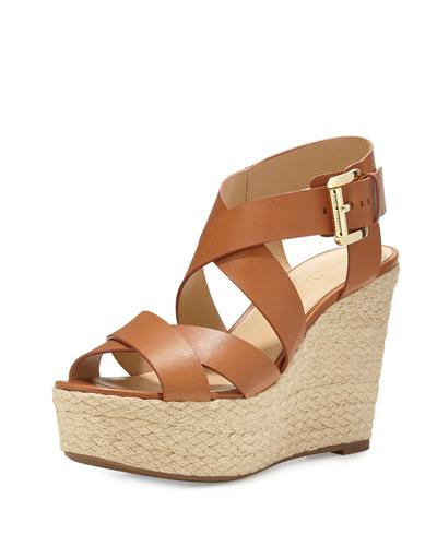 Celia Leather Mid-Wedge Espadrille Sandal, Luggage