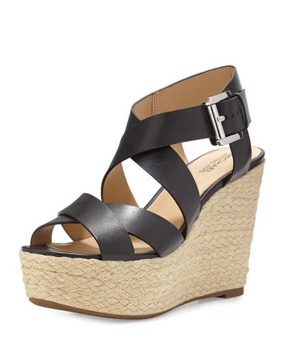 Celia Leather Mid-Wedge Espadrille Sandal, Black