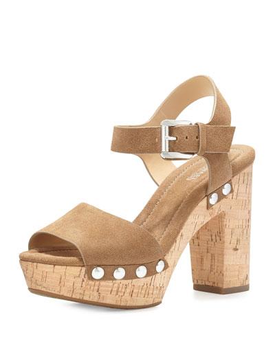 Hayden Suede Platform Sandal, Desert