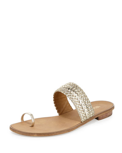 Daniella Braided Leather Flat Sandal, Light Gold