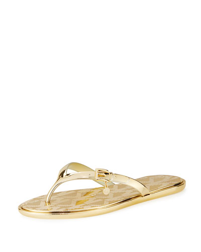 Emory Buckle Flat Thong Sandal, Gold