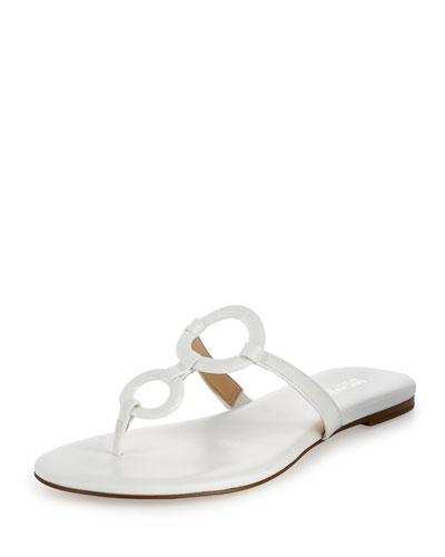 Claudia Ring Flat Thong Sandal, Optic White
