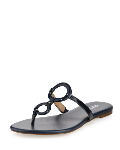 Claudia Ring Flat Thong Sandal, Navy