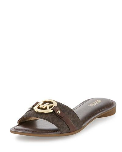 Molly Flat Logo Slide Sandal, Brown
