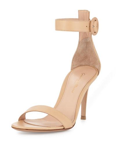 Portofino Leather Ankle-Strap 85mm Sandal, Nude