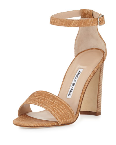 Lauratopri Ankle-Wrap 105mm Sandal, Beige