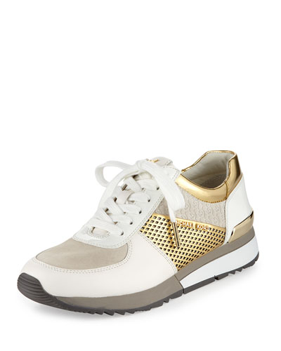 Allie Mixed-Media Trainer Sneaker, Optic White/Gold