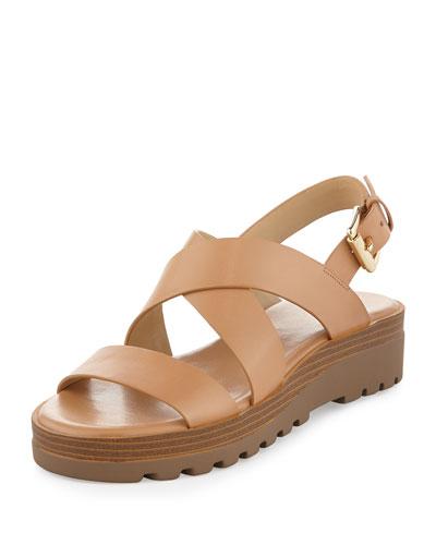 Millie Leather Crisscross Flatform Sandal, Suntan