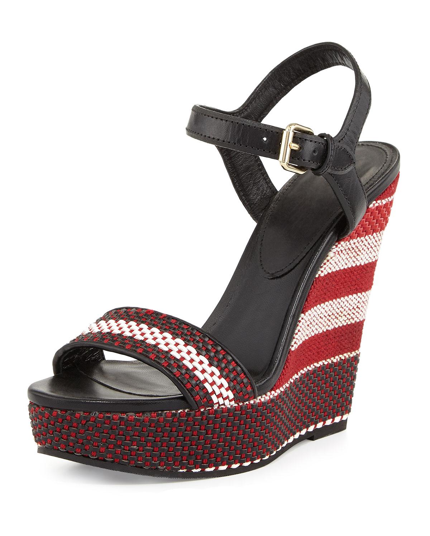 Kavanagh Woven Wedge Sandal, Black/Red