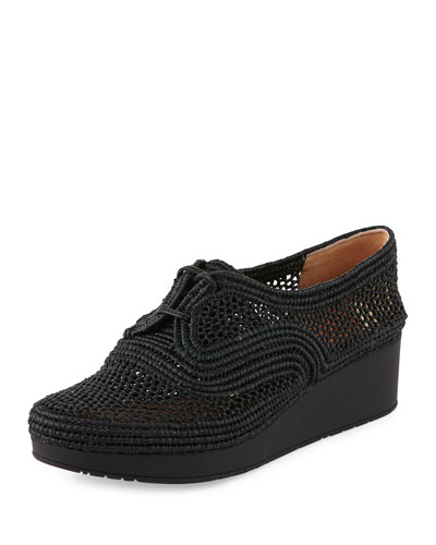 Vicolek Woven Raffia Demi-Wedge Sneaker, Black