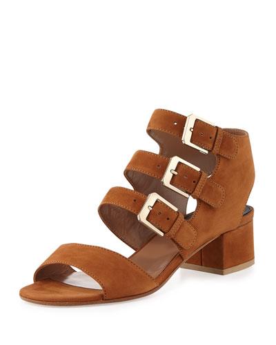 Klio Suede Three-Buckle Sandal, Camel